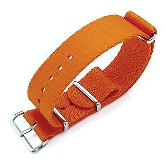 Strapcode n.a.t.o watch strap miltat 21mm g10 watch strap ballistic nylon extra thick armband - orange, polished hardware