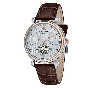 Thomas Earnshaw Watches Es-8046-04 Grand Calendar Two Tone & Brown Textured Leather Automatic Men's Watch