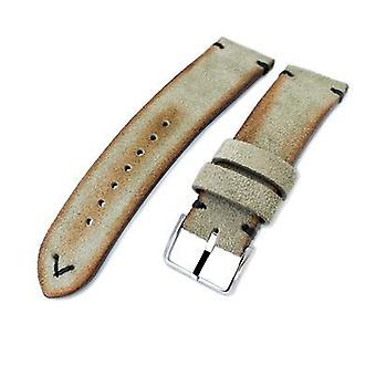 Strapcode leather watch strap  20mm, 21mm, 22mm miltat grey green genuine nubuck leather watch strap, black stitching, polished buckle