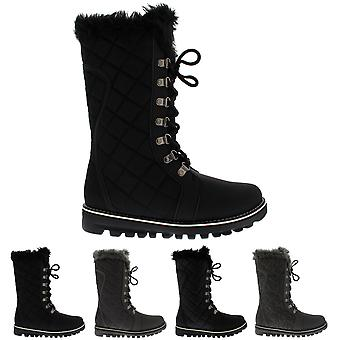 Womens Quilted Faux Fur Lined Winter Warm Comfy Snow Rain Knee High Boot UK 3-10