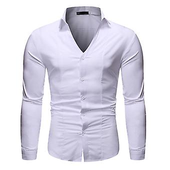 Allthemen Men's button alas mekko paita kiinteä v-kaula-paita päivittäin kulumista