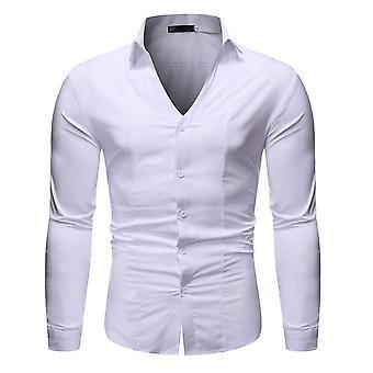 Allthemen Hombres's Botón Abajo Camisa de vestido sólido cuello en V para uso diario