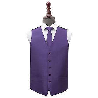 Cadbury lila Plain shantung bröllop väst & amp; Tie set
