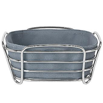 Blomus bread basket DELARA small Flint stone cotton liner chrome plated steel wire