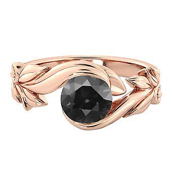 1.00 anel de diamante negro CT 14k Gold Rose flor folhas folha