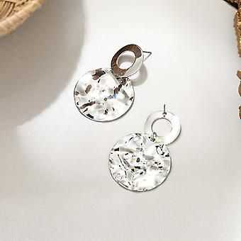 Boucles d'oreilles Silver Hammered Disc Drop