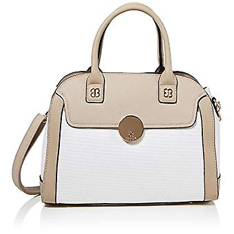 BESSIE LONDONWoven Bag With Gold Circle Clip Women's Bag ToteWhite (White)12x27x36 Centimeters (W x H x L)