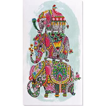 Abris Art Bead Embroidery Kit With Thread - Three Elephants For Happiness