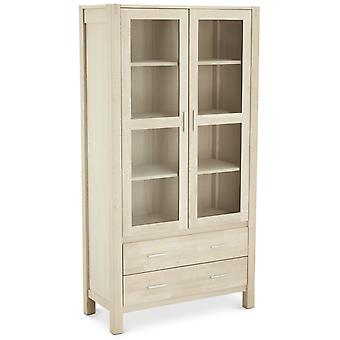 Furnhouse Texas Glass Cabinet, Solid Oak, Soap Finish,2 Drawers/3 Shleves, 100x4