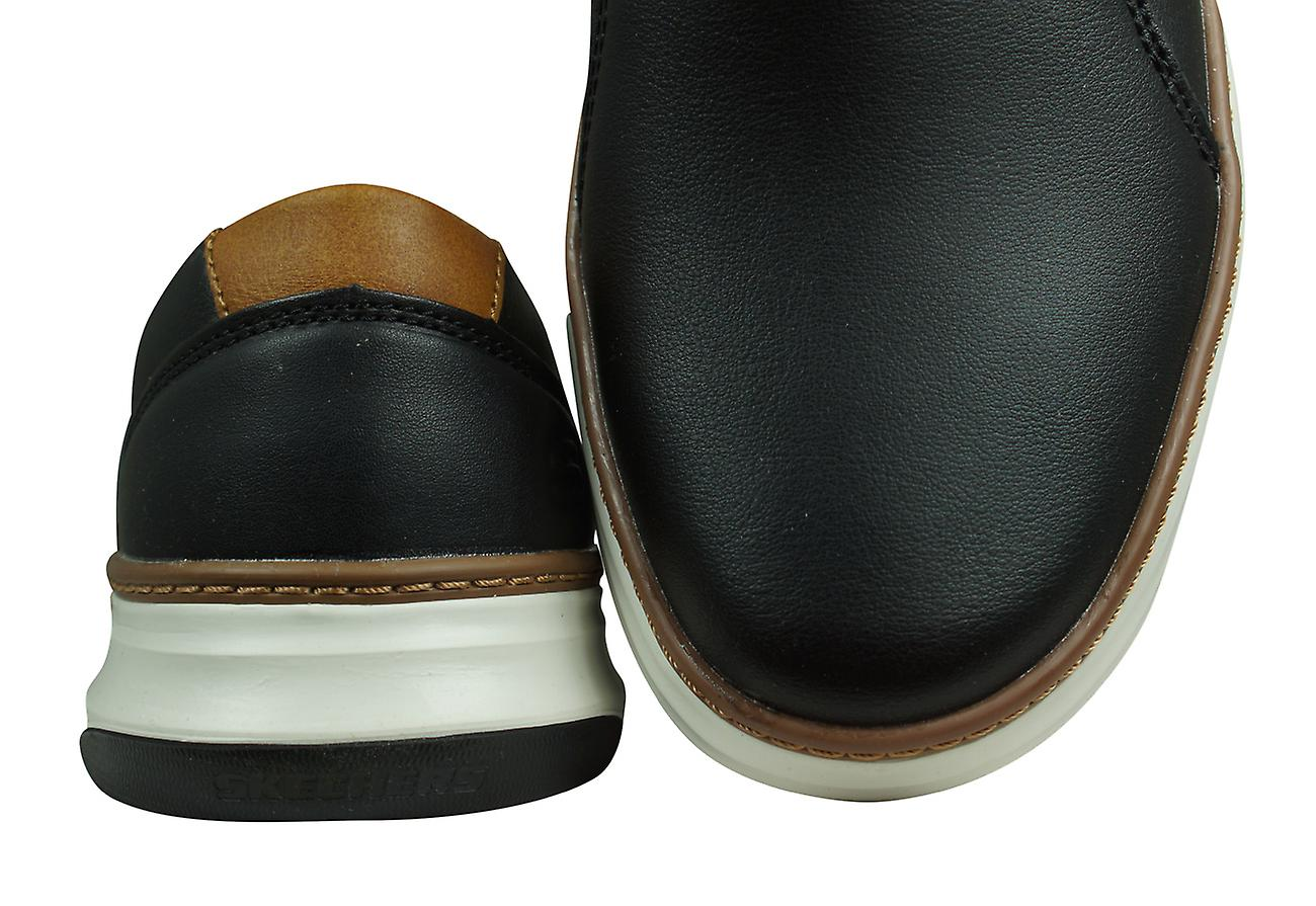 Skechers Moreno Nector Mens Slip On Leather Moakers / Chaussures - Noir