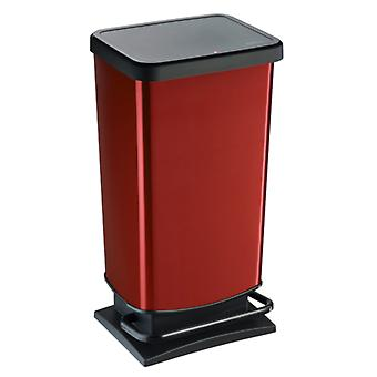 ROTHO Pedal bucket PASO 40 litre square red metallic | Garbage bins for easy waste disposal