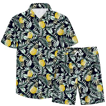 Allthemen Men's 3D Fruit Pattern 2-Pcs Beach Shirt&Shorts