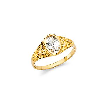 14k Yellow Gold CZ Cubic Zirconia Simulated Diamond Boys and Girls Ring Size 3 - 1.0 Grams