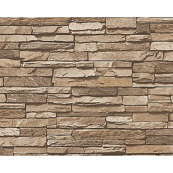 A.S. Creation AS Creation Slate Brick Wall Pattern Faux Effect Embossed Vinyl Light Brown Wallpaper