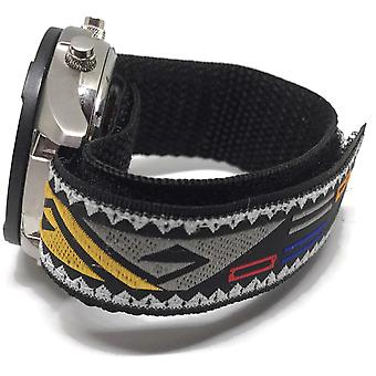 Velcro watch strap velcro leather sport black 20mm with pattern