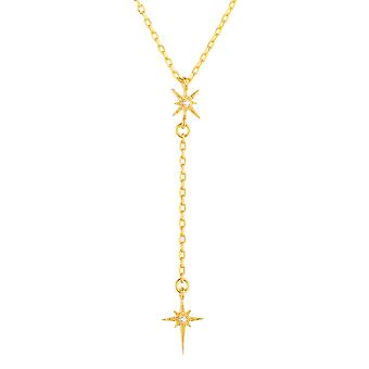 Mini Yellow North Star Burst Bridal Jewellery Gift Delicate Gold Drop Necklace