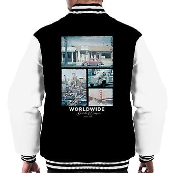 Teilen & erobern Weltweit Retro Foto Men's Varsity Jacke