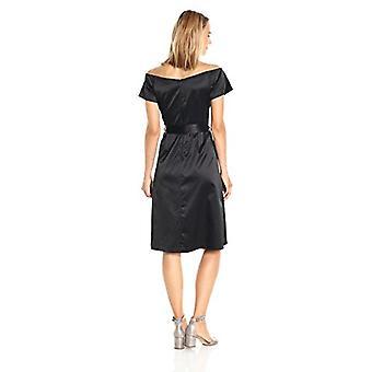 PARIS SUNDAY Women's  Off Shoulder Front Slit Sateen Dress, Black, Medium