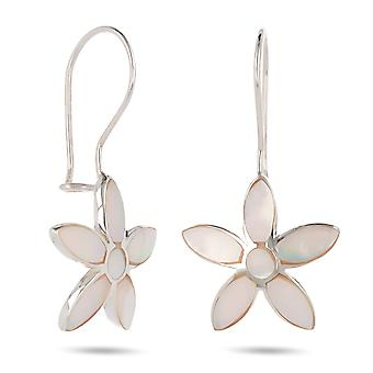 ADEN 925 Sterling Silver White Mother-of-pearl Flower Earrings (id 3701)