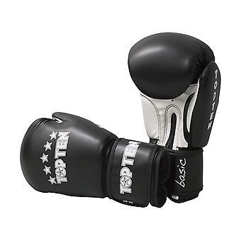 Top dix R2M 2016 gants de boxe 10oz noir/blanc