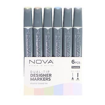 Trimcraft Nova Sketch Markers Pastels (6pcs) (NOV009)