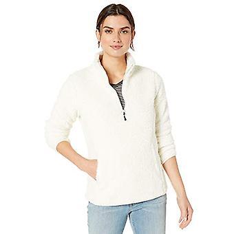 Essentials Women's Polar Fleece Vuorattu Sherpa Quarter-Zip Takki, Off-White, Keskikokoinen