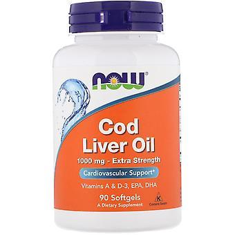 Jetzt Lebensmittel, Kabeljau Leberöl, Extra-Stärke, 1.000 mg, 90 Softgels