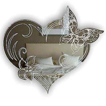 Butterfly Flutter Heart and Flower Acrylic Mirror