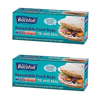 2 x Bacofoil Resealable Bag 40 Medium Frokost Sandwich Food Fryser Frugt