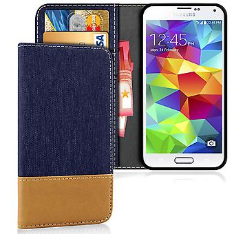 Samsung Galaxy S5 Shockproof Mobile Phone LeatherEtte Full Cover Jeans Shell