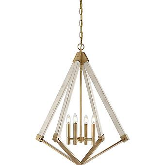 4 Light Cage Ceiling Pendant - Brass Finish, E14