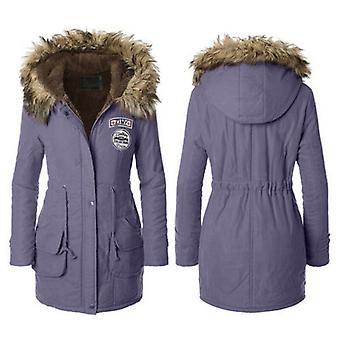 Femmes Faux Fur Collar ZIMY Logo Trim Hood Long Winter Parka Coat