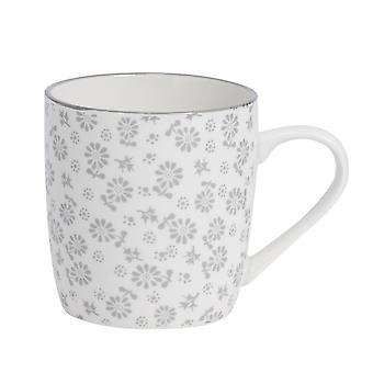 Nicola Spring Daisy Patterned Tea and Coffee Mug - Small Porcelain Cappuccino Teacup - Grey - 280ml