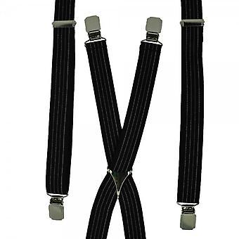 Cravatte Pianeta Nero & Bianco Righe Skinny Trouser Braces