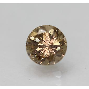Certified 0.59 Carat Yel Brown SI1 Round Brilliant Natural Diamond 5.03mm