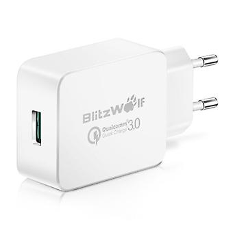 Blitzwolf Fast Charge 18W USB Plug Charger - Quick Charge 3.0 Wall Charger Wallcharger AC Home Charger Adapter White