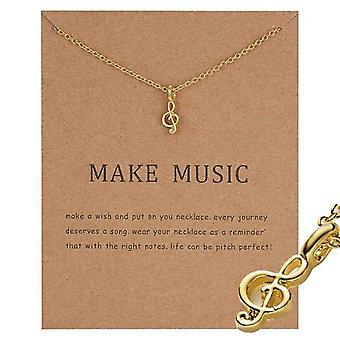 Make music - G clave note necklace with 18K gold plated gift