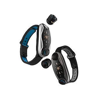 Relógio inteligente multifuncional com dois fones de ouvido bt destacáveis