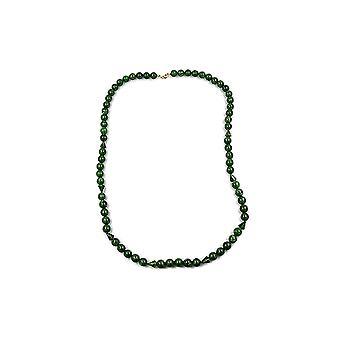 Halskjede Perler 12mm Grønn / Gull