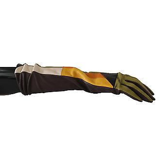 Multicolor Patchwork Mid Arm Leather Gloves