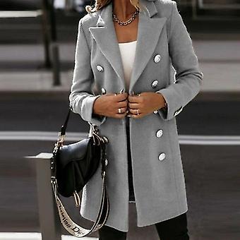 Women Turn-down Collar Button Woolen Coat