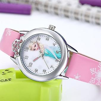 Prinzessin Muster Uhr Mode Kristall Cartoon Leder Quarz Armbanduhr Kinder
