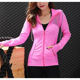 Breathable Hollow Zipper Hoodies Veste de sport femme