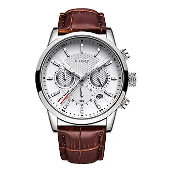 Lige Luxury Watch for Men with Leather Strap - Anologue Mechanical Movement for Men Quartz Silver