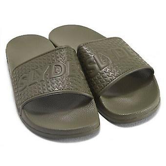 Slydes Cali Mens Slip On Sliders Open Toe Flip Flops Slide Khaki S0001S004 Z2B