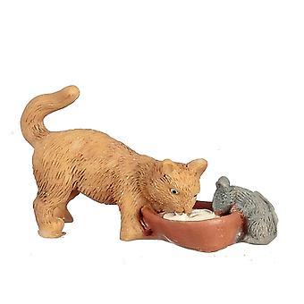 Nuket Talon kissa &; Hiiri juoma maito miniatyyri lemmikki 1:12 Asteikko