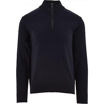 Paul & Shark Blue Wool Turtleneck Zip Sweater