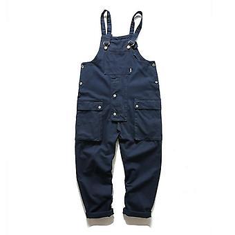 Πολλαπλές φόρμες τσέπης casual άνδρες jumpsuit, Streetwear χαλαρά caro παντελόνι, λουράκι