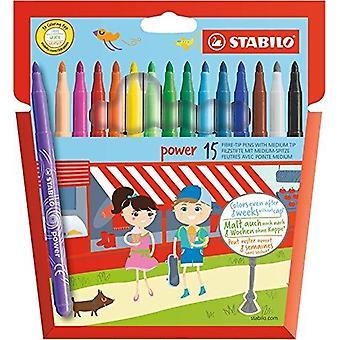 Stabilo felt tip pen - stabilo power wallet of 15 assorted colours wallet (cardboard) pack of 15