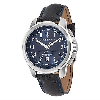 مازيراتي R8851121003 الرجال & apos;ق الشريط الأزرق Successo ساعة اليد